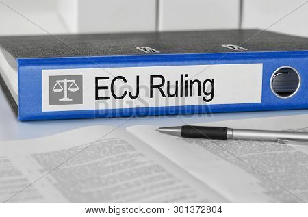 A Blue Folder With The Label Ecj Ruling