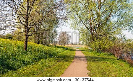Curved Path In A Dutch Park In Springtime. On The Right Side Of The Path Is A Small Lake En On The O