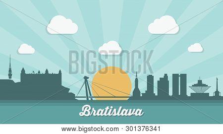 Bratislava Skyline - Flat Design - Vector Illustration - Vector