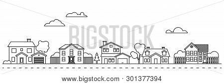 Village Main Street Neighbourhood Line Art Vector Illustration