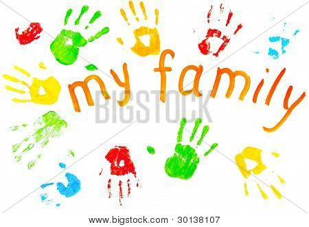 The Colorful Prints Of The Family`s Palms.
