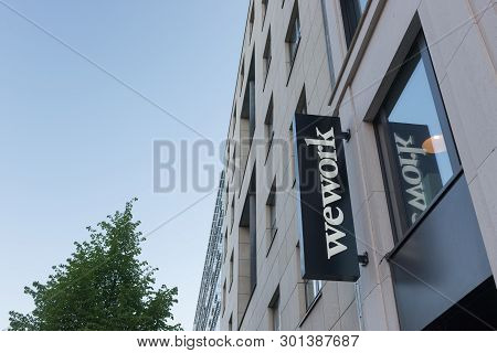 Berlin, Germany - April 29, 2019: A Location Of The Co-working And Office Space Company Wework In Be