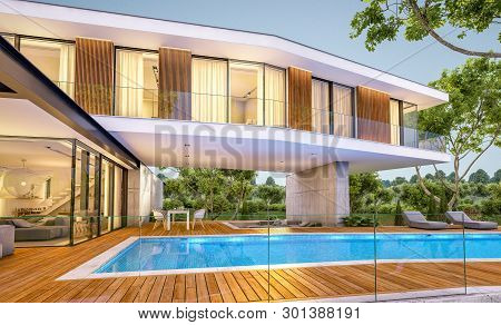 3D Rendering Of Modern House On The Hill With Pool In Evening