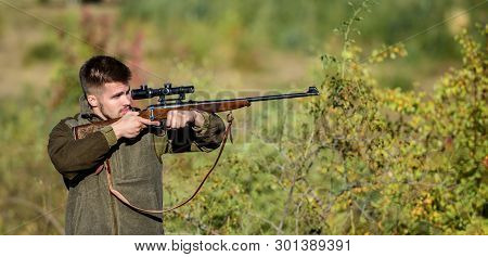 Bearded Serious Hunter Spend Leisure Hunting. Hunter Hold Rifle. Hunting Is Brutal Masculine Hobby.