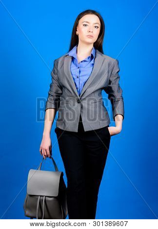 Girl Student In Formal Clothes. Business. Shool Girl With Knapsack. Student Life. Smart Beauty. Nerd