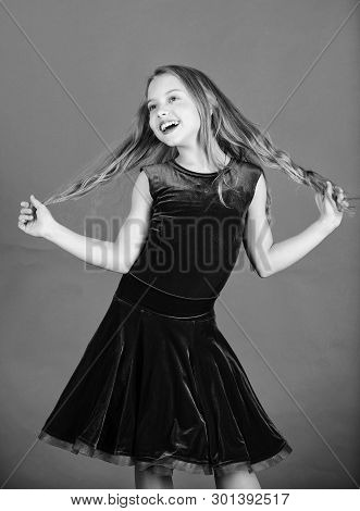 Hairstyle for dancer. How to make tidy hairstyle for kid. Ballroom latin dance hairstyles. Kid girl with long hair wear dress on red background. Things you need know about ballroom dance hairstyle poster