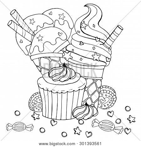 Coloring Page With Cake, Cupcake, Candy, Ice Cream And Other Dessert