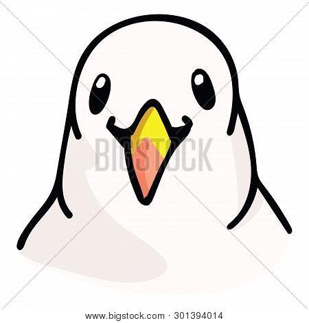 Kawaii Seagull Headshot Cartoon Vector Illustration Motif Set. Hand Drawn Isolated Ocean Life Elemen