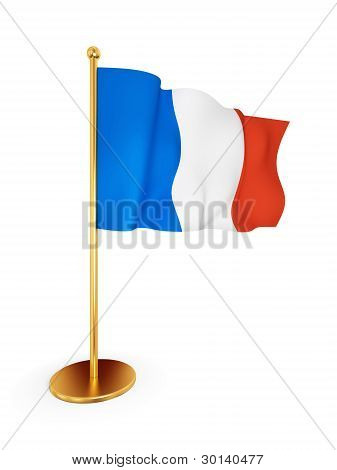 French flag waving on wind.
