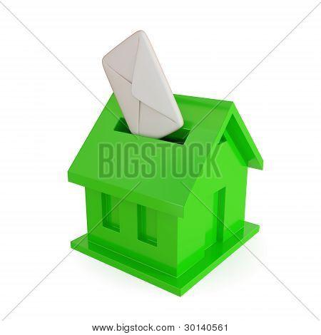 Mailbox shape of house.