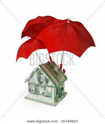 House made of money under three red umbrellas.