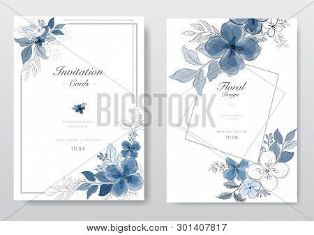 Set Of Beautiful Blue Watercolor Florals Card. Decorative Floral Greeting Card, Wedding Or Invitatio