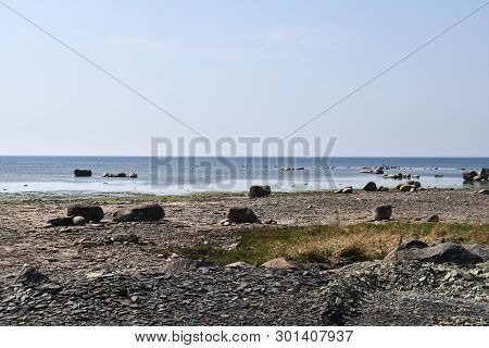 Idyllic Coastline With Calm Water By The Baltic Sea At The Swedish Island Oland