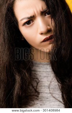 Closeup Portrait Of Doubtful Emotional Brunette Girl Tilting Head. Beautiful Lady With Disturbed, Un