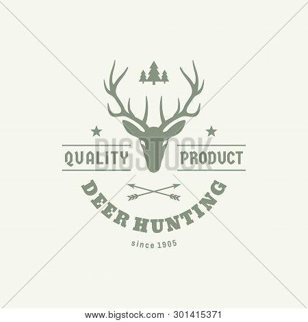 Wild Deer Hunter - Concept Logo Badge For T-shirt And Other Print Production. Vintage Emblem For Clo