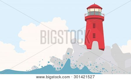 Red Lighthouse With Concrete Breakwater At Seashore