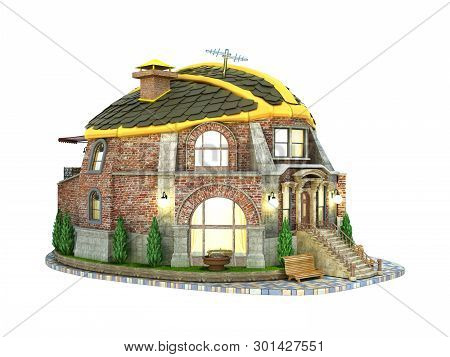 Construction Concept House In The Form Of A Construction Helmet 3d Render On White No Shadow