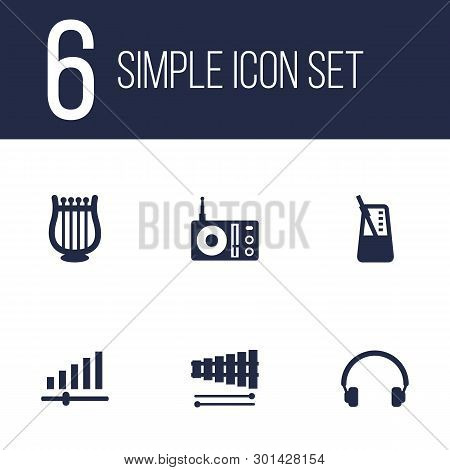 Set Of 6 Song Icons Set. Collection Of Harp, Retro Tuner, Metronome And Other Elements.