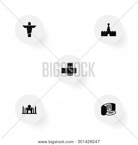 Set Of 5 Monument Icons Set. Collection Of Christ The Redeemer, Taj Mahal, Niagara Falls And Other E