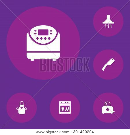 Set Of 6 Cooking Icons Set. Collection Of Axe, Dish Washer, Toaster And Other Elements.