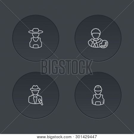 Set Of 4 Job Icons Line Style Set. Collection Of Journalist, Rancher, Builder And Other Elements.
