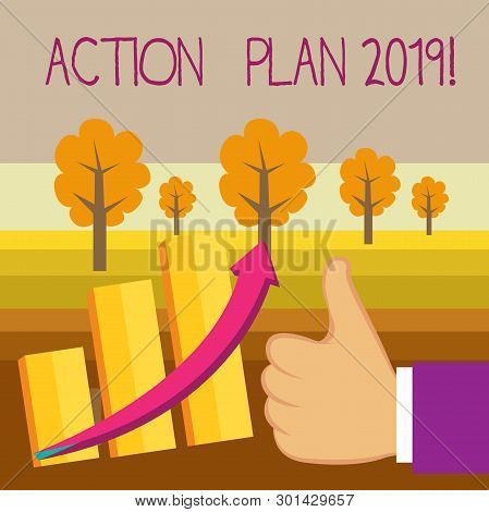 Conceptual Hand Writing Showing Action Plan 2019. Business Photo Text Proposed Strategy Or Course Of