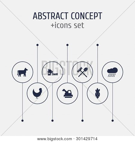 Set Of 7 Agricultural Icons Set. Collection Of Rain, Shovel, Farm And Other Elements.
