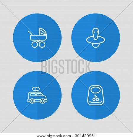 Set Of 4 Baby Icons Line Style Set. Collection Of Bus, Pram, Breastplate And Other Elements.