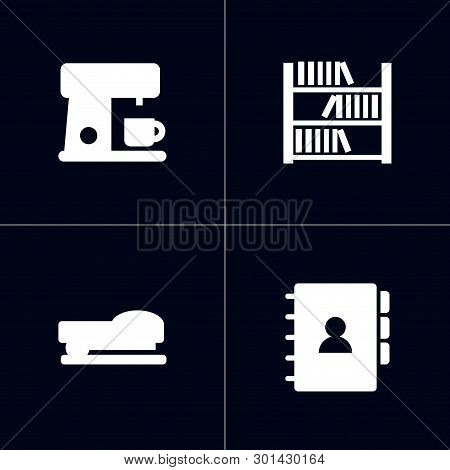 Set Of 4 Workspace Icons Set. Collection Of Bookshelf, Staple, Coffee Maker And Other Elements.