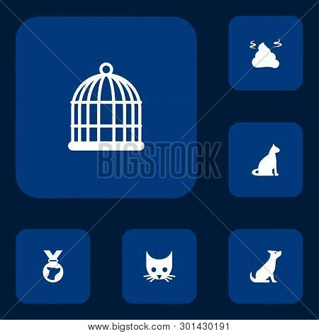 Set Of 6 Mammal Icons Set. Collection Of Bird Prison, Pile Of Poo, Cat And Other Elements.