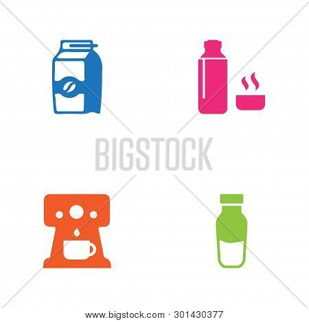Set Of 4 Drink Icons Set. Collection Of Pocket Milk, Percolator, Thermos And Other Elements.