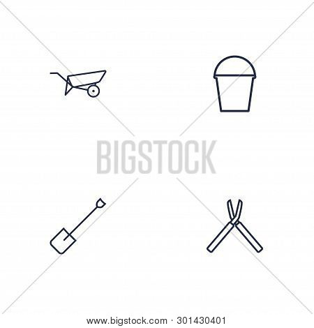 Set Of 4 Household Icons Line Style Set. Collection Of Shovel, Bucket, Scissors And Other Elements.