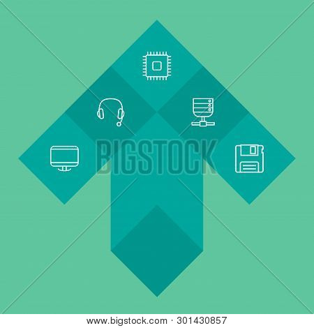 Set Of 5 Laptop Icons Line Style Set. Collection Of Diskette, Microprocessor, Display And Other Elem