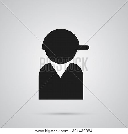 Isolated Teenager Icon Symbol On Clean Background.  Baseball Element In Trendy Style.