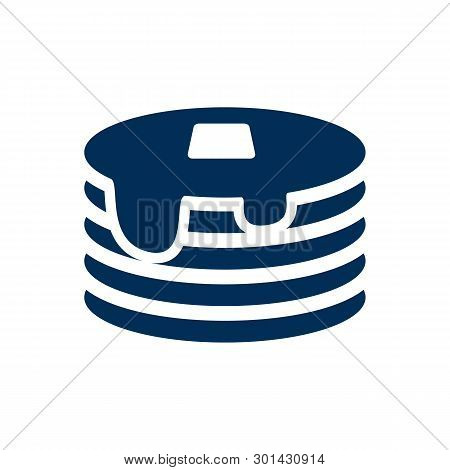 Isolated Pancake Icon Symbol On Clean Background.  Crepe Element In Trendy Style.