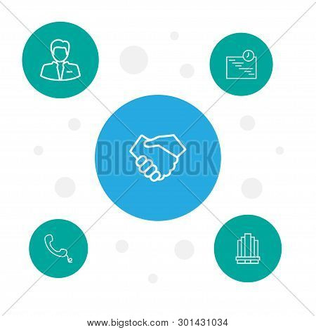 Set Of 5 Business Icons Line Style Set. Collection Of Worker, Building, Partnership And Other Elemen