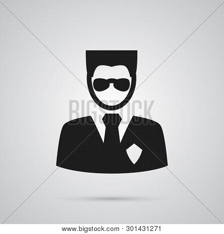 Isolated Security Icon Symbol On Clean Background.  Bodyguard Element In Trendy Style.