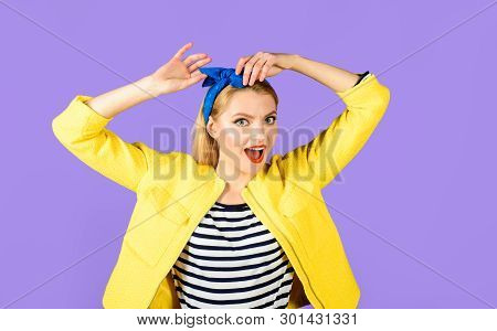 Expressive Facial Expressions. Smiling Retro Girl In Headband. Emotional Girl. Cheerful Woman With C
