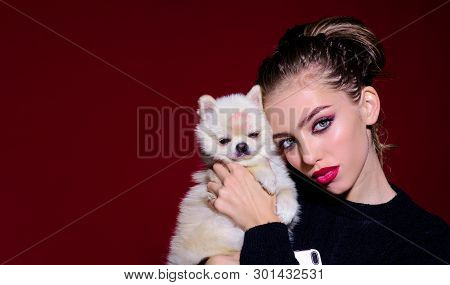 Pretty Girl With Bright Makeup Hugs Her Cute Puppy. Lovely Woman Play With Dog. Girl And Puppy. Sens