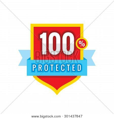 100% Protected Safeguard Shield With Ribbon - Concept Badge Vector Illustration. Security Guarantee