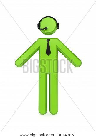 3D small person with a headphones .