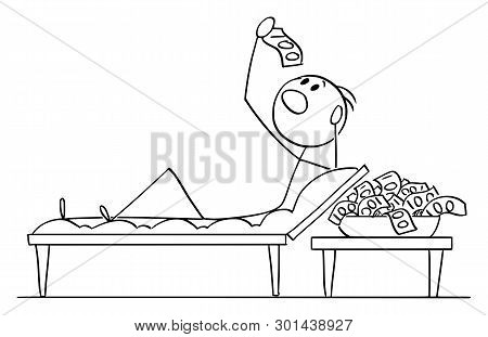 Vector Cartoon Stick Figure Drawing Conceptual Illustration Of Wealthy Man Or Businessman Lying On C