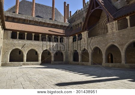 Guimaraes, Portugal - August 9, 2015:  Inner Patio Of  The Palace Of The Dukes Of Braganza In Guimar