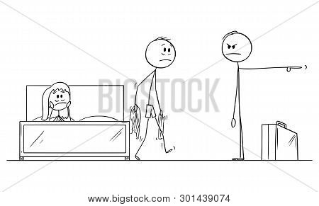 Vector Cartoon Stick Figure Drawing Conceptual Illustration Of Man Or Husband Returned Home And Foun