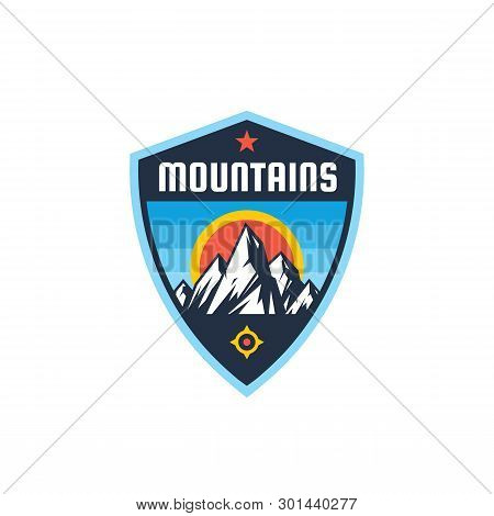 Mountains - Concept Badge. Climbing Logo In Flat Style. Extreme Exploration Sticker Symbol.  Camping