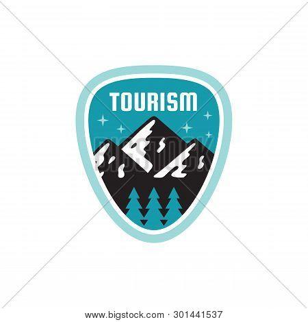Tourism Adventure Outdoors - Concept Badge. Mountain Climbing Logo In Flat Style. Extreme Exploratio