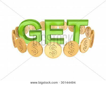 Word GET and golden coins around
