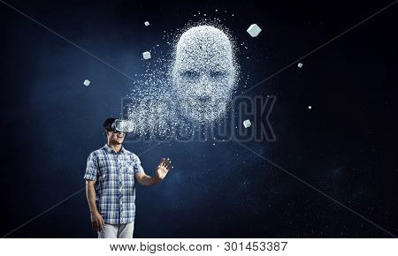 Digital head, artificial intelligence and virtual reality. Mixed media