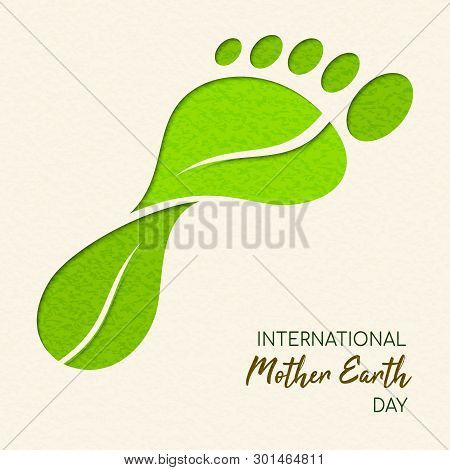 International Earth Day Illustration Of Carbon Footprint Concept. Green Papercut Leaves Making Foot