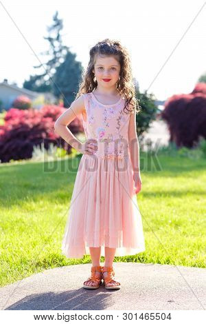 Five Year Old Girl Portrait Before Dance Performance